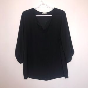 Pleione | Solid Black 3/4 Sleeve V-Neck Blouse